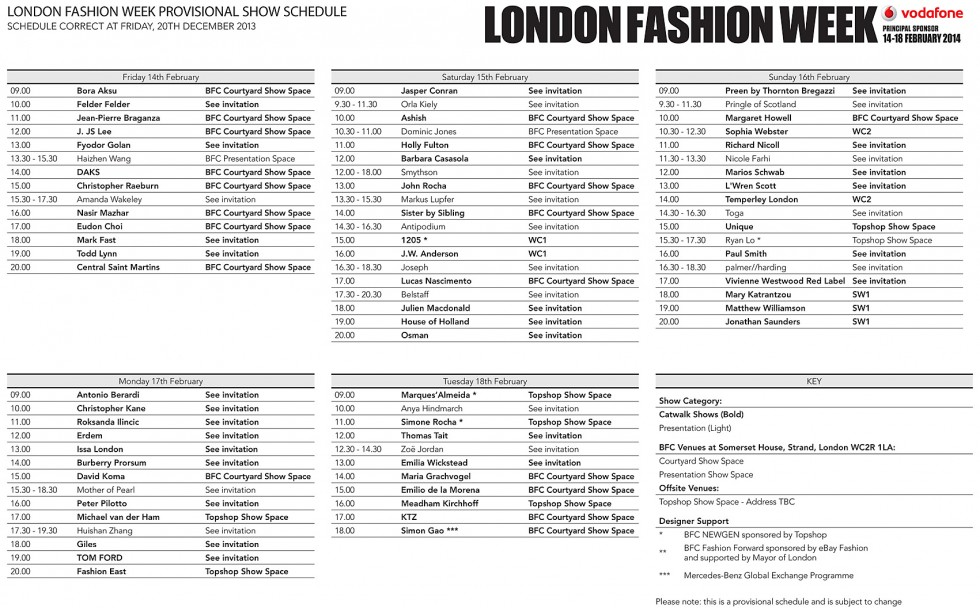 LFW Feb 2014 Provisional Schedule
