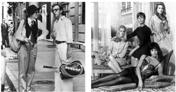 "L-R: Film Still of Diane Keaton and Woody Allen in ""Annie Hall"", 1977; Film Still of ""Belle du Jour"", 1967"