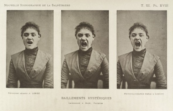 Series of three photos showing a hysterical screaming woman