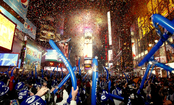 Revelers take part in New Year celebrations in New York