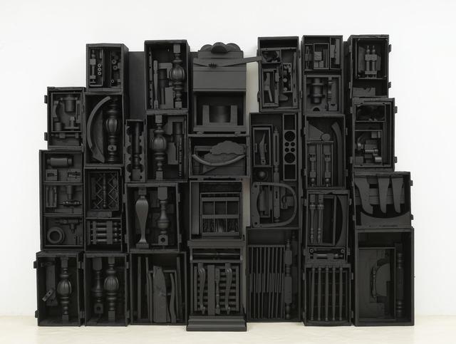 """Untitled, 1964. wood painted black, 8' 4"""" x 10' 11-1/2"""" x 1' 6-3/4"""" (254 cm x 334 cm x 47.6 cm), 16 elements plus 2 part base, 18 parts total."""