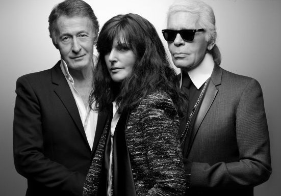 Eric Pfunder, Virginie Viard, and Karl Lagerfeld