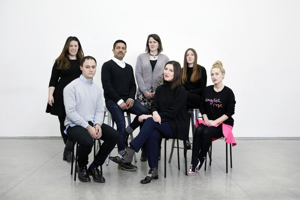 Image credit: 'British Fashion Council, Shaun James Cox' (L-R) Mary Katrantzou, Michael van der Ham, Osman Yousefzada, Holly Fulton, Emilia Wickstead, Amy Powney and Sophia Webster.