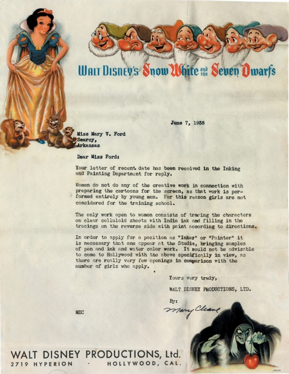 A rejection letter sent to Mary V. Ford, who applied to be an animator.