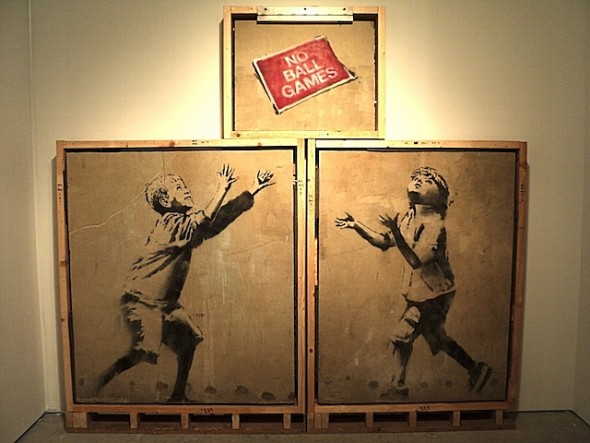 "A rare Banksy ""No Ball Games"" to be displayed at Art Miami New York"