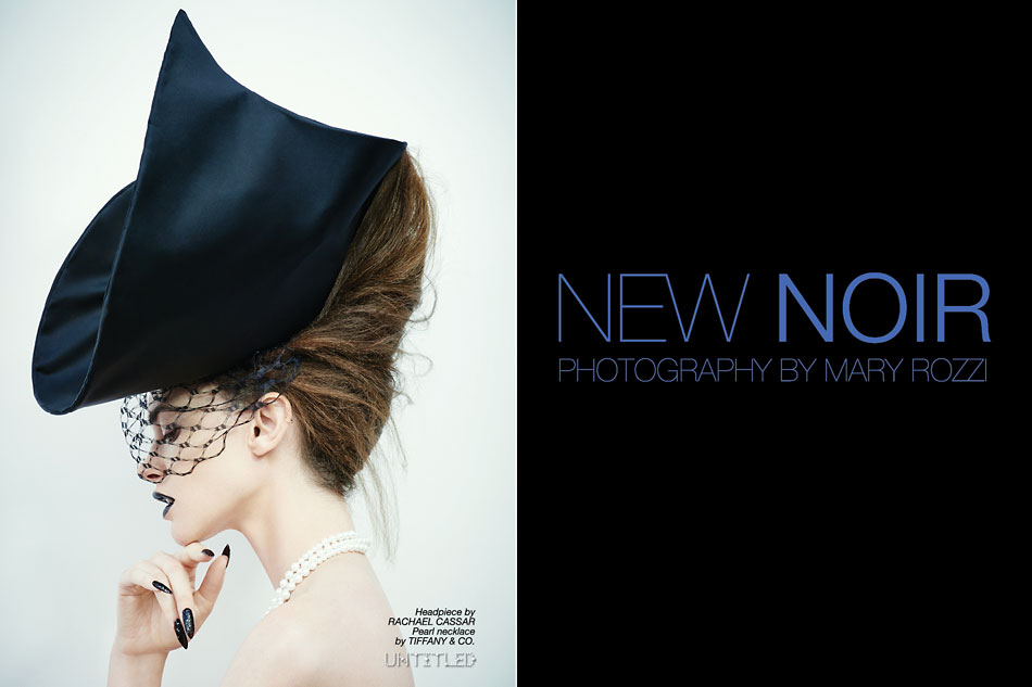"""New Noir"" Photography by Mary Rozzi for The Untitled Magazine. Headpiece by Rachael Cassar, Pearl necklace by Tiffany & Co."