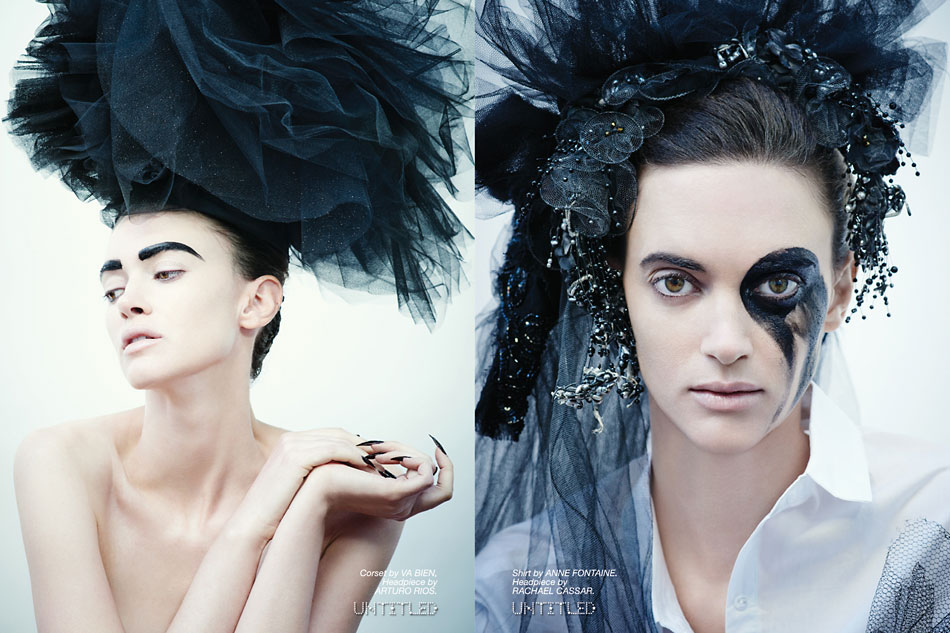 """New Noir"" Photography by Mary Rozzi for The Untitled Magazine. Left: Corset by Va Bien, Headpiece by Arturo Rios. Right: Shirt by Anne Fontaine. Headpiece by Rachael Cassar."