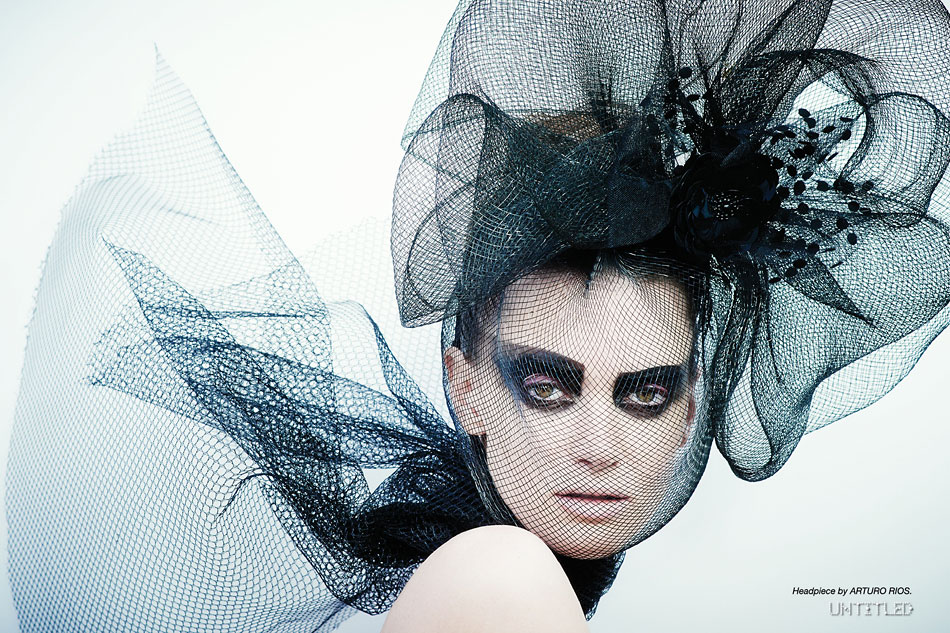 """New Noir"" Photography by Mary Rozzi for The Untitled Magazine. Headpiece by Arturo Rios."