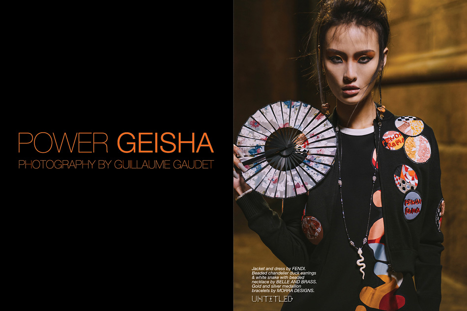 """Power Geisha"" Photography by Guillaume Guadet for The Untitled Magazine. Jacket and dress by Fendi.Beaded chandelier duck earrings & white snake with beaded necklace by Belle and Brass. Gold and silver medallion bracelets by Morra Designs."