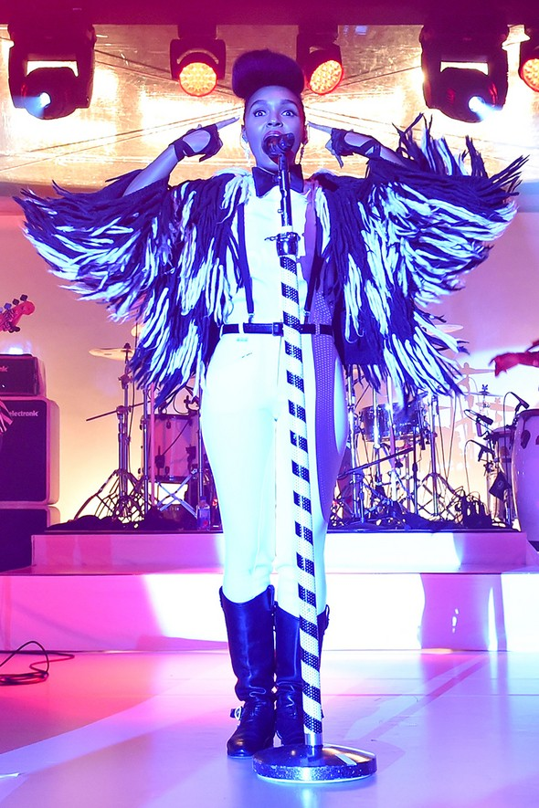 Janelle Monae performing at the MOCA Gala 2015.  Photo by Billy Farrell/BFA.Com
