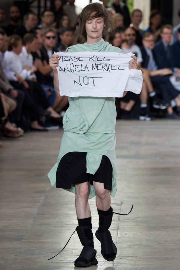 Rick Owens Spring/Summer 2016 Menswear model Jera Diarc sharing a political statement. Image: style.com