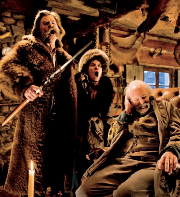 The Hateful Eight Kurt Russel, Jennifer Jason Leigh and Bruce Dern